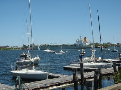 Boston Sailing Center - getting ready to sail a large commercial ship going through.